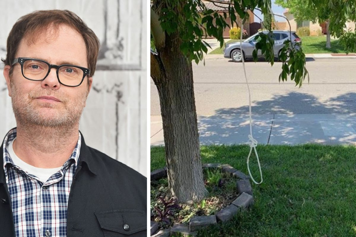 Rainn Wilson slams racism denial with a 'chilling' photo of a noose hanging in his friend's yard.