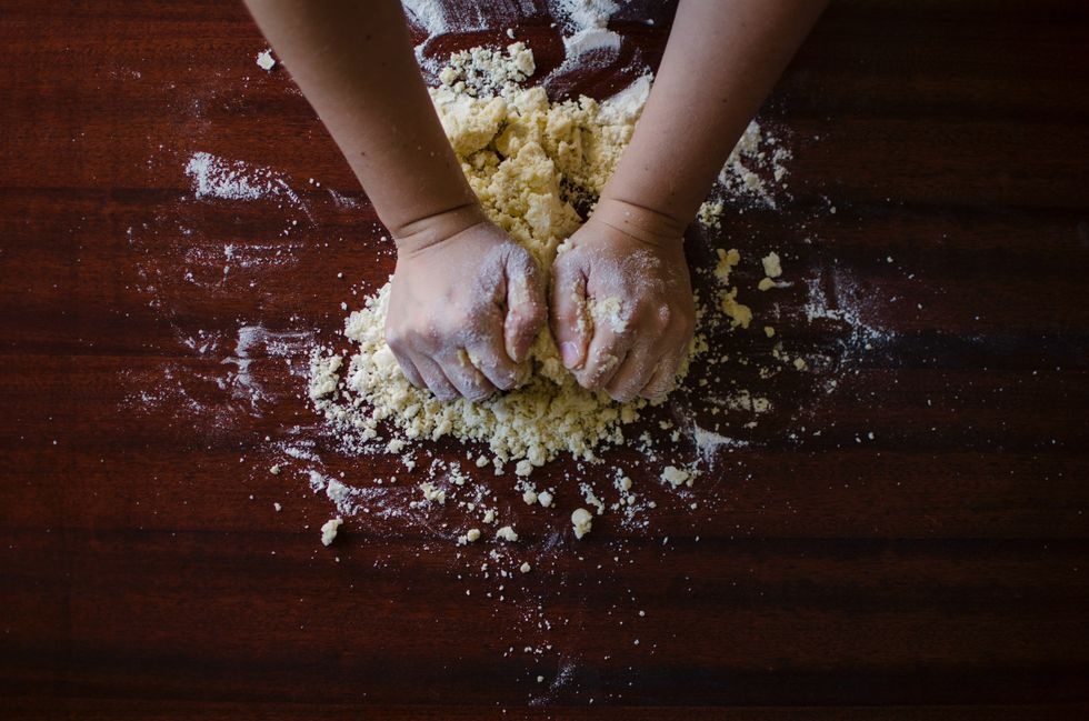 Baking pastry dough in a bakery