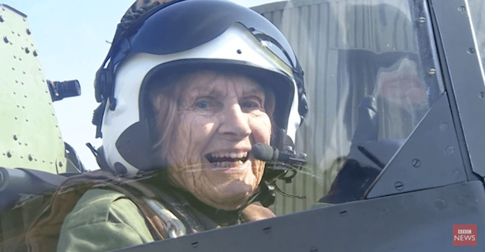 A 92-year-old World War II fighter pilot flies her plane for the first time in 70 years.