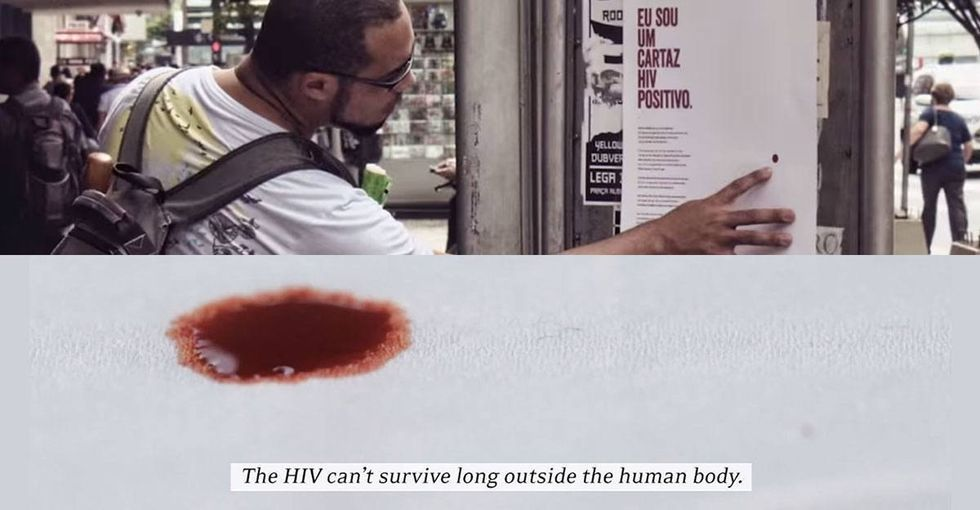 This poster is HIV-positive. The people who read it are instantly touched.