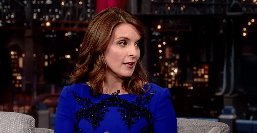 Tina Fey breaks down a big double-standard in the talk show circuit with her last dress ever.