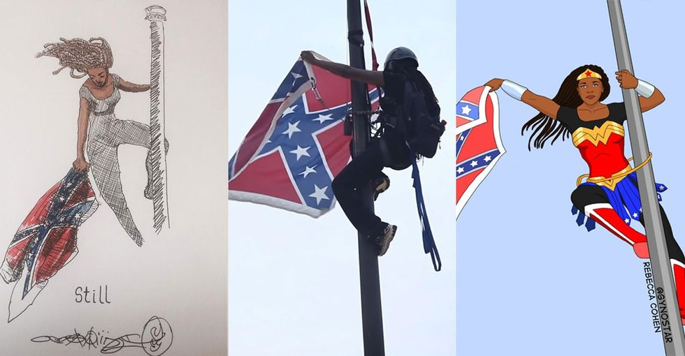 She left the flagpole in handcuffs. Now artists reimagine her as a superhero.