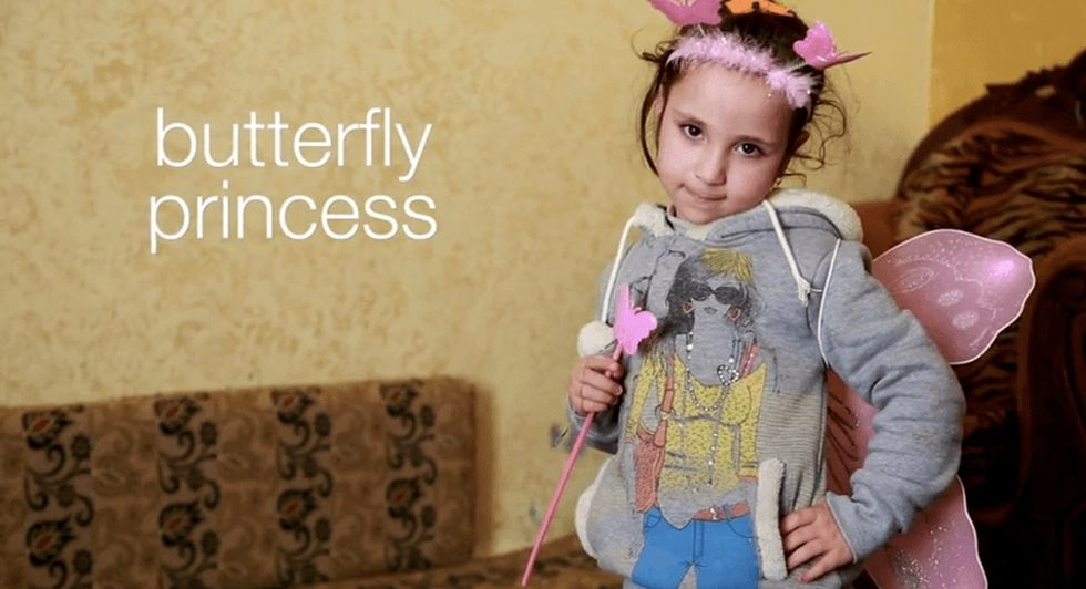She calls herself a butterfly princess. Media calls her a Syrian statistic. Her version's better.