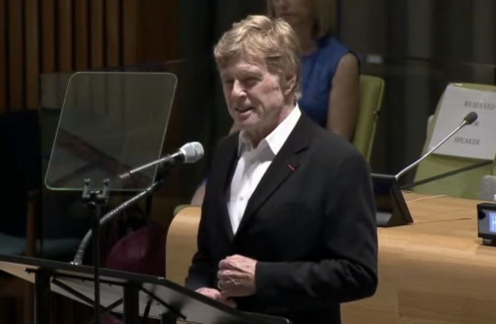 Robert Redford gives an inspiring speech to world leaders about changing the course of history.