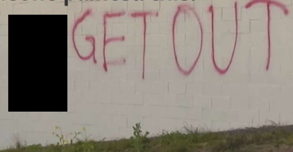These racist idiots spray-painted a swastika on the dumbest location possible.