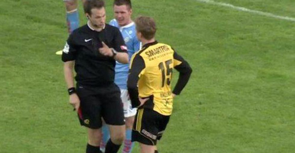He tried to insult an opposing player by calling him 'gay,' but the ref didn't stand for it.