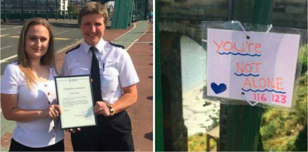 This teenager posted 40 uplifting notes on a bridge to stop suicides. It's working.