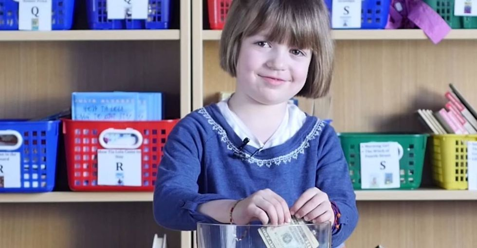 What happens when you ask cute kids to dig through a jar of cash and pull out bills featuring women?