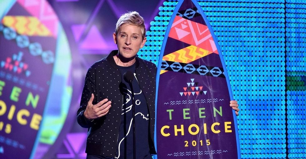 Ellen delivered a shining message of self-acceptance, and she couldn't have picked a better venue.