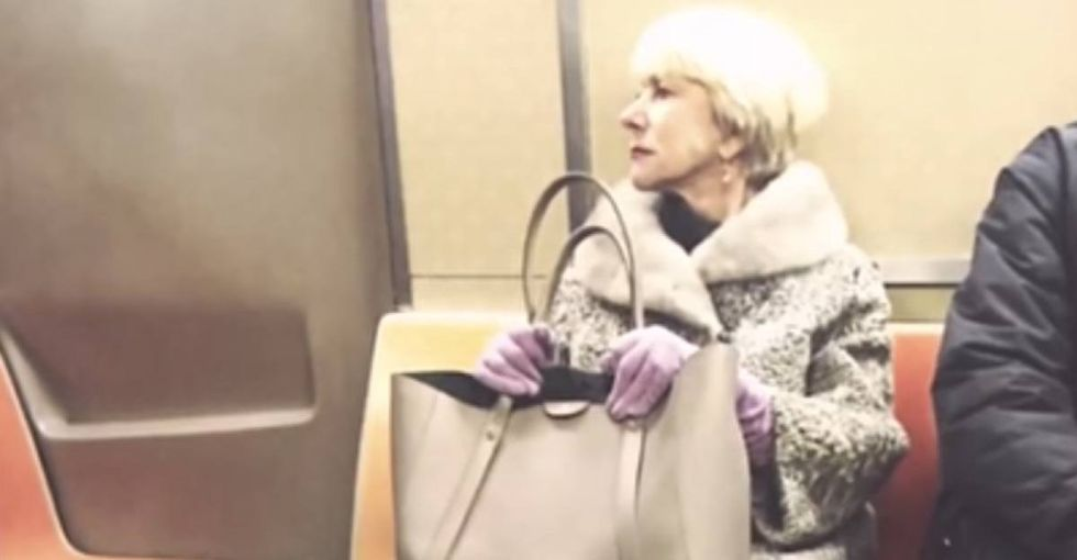 Helen Mirren says what every woman who's ever been on a crowded train has been thinking.