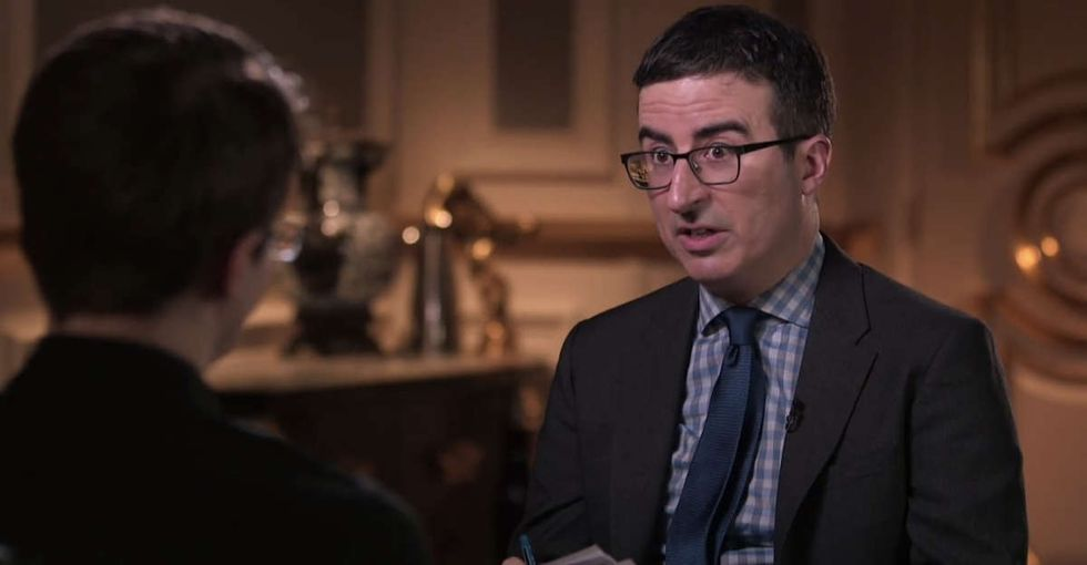 John Oliver flew 10 hours to Russia to interview Edward Snowden and get him on record.