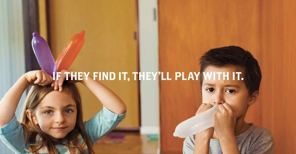 Funny pictures of kids playing with tampons, condoms, and bras are really about gun safety.