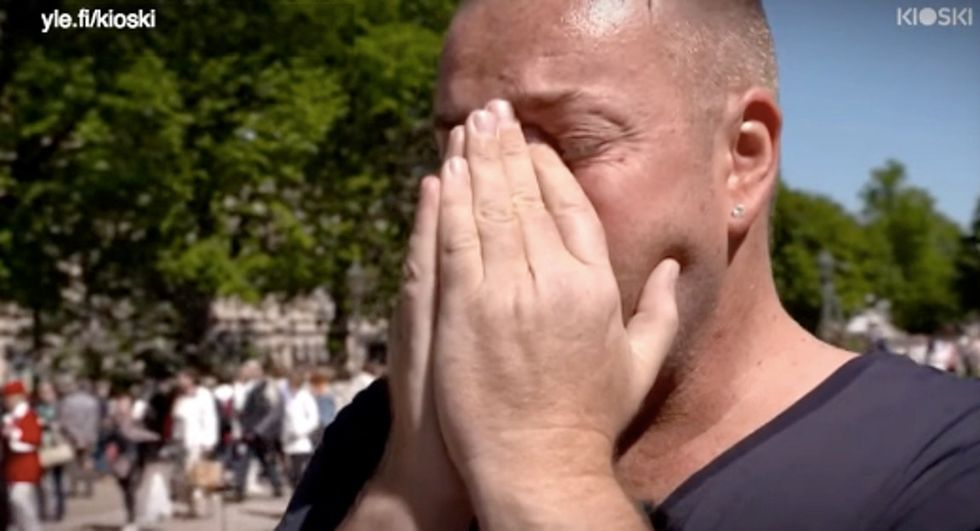 A man with HIV asked strangers for some human contact. Their sweet reactions brought him to tears.