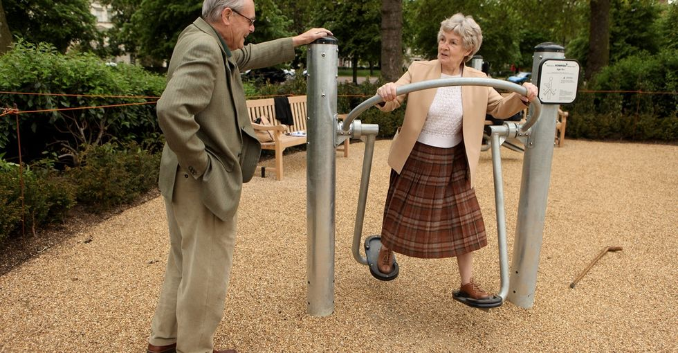 Playgrounds for senior citizens? Genius idea.
