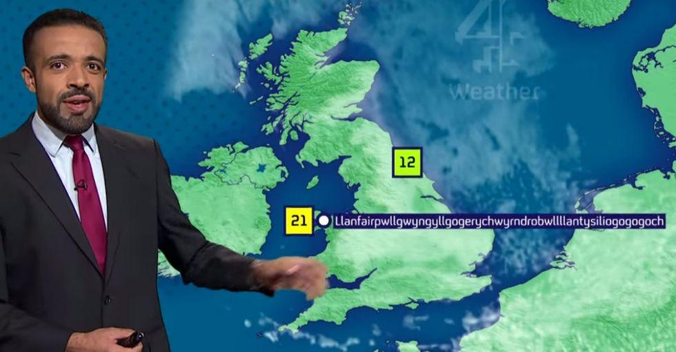 A weatherman who said Llanfairpwllgwyngyllgogerychwyrndrobwllllantysiliogogogoch is a hero.