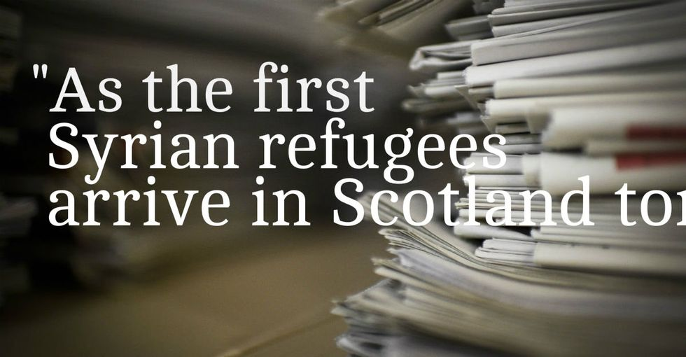 Refugees arriving in Scotland will get this front page greeting.