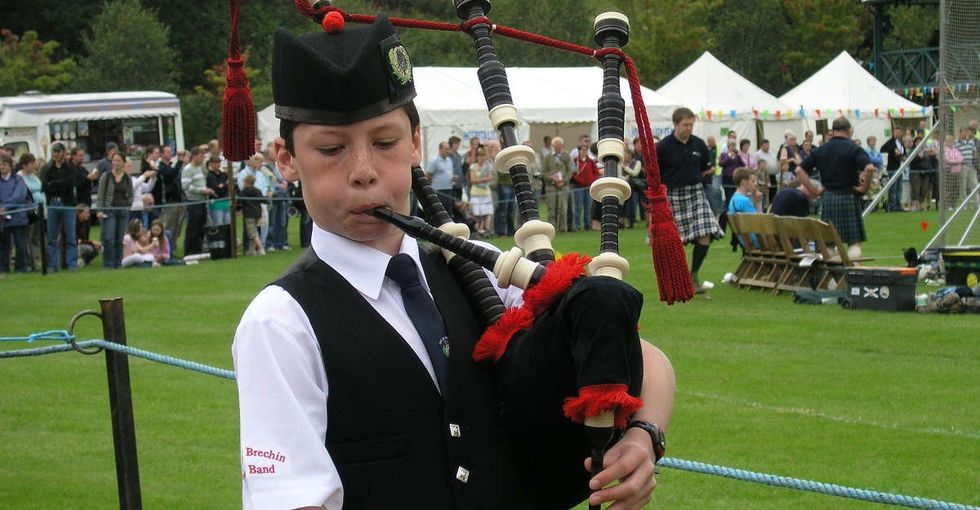 A Scottish boy couldn't stand a preacher's homophobic rant, so he whipped out his bagpipes.