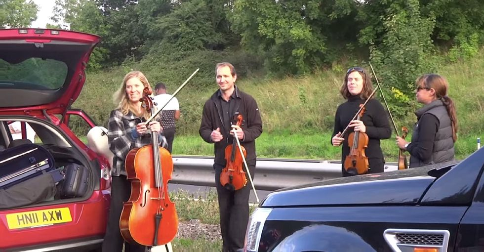 A string quartet found themselves caught in a traffic jam, then decided to do something about it...