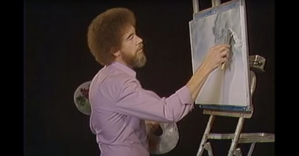 Bob Ross once painted only in gray for a colorblind fan. It was incredible.