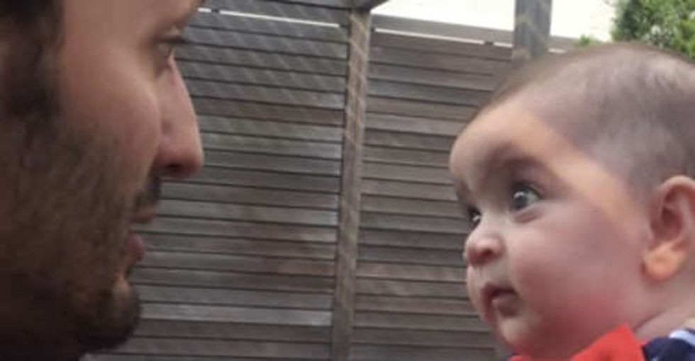 Watch this guy blow a baby's mind by explaining the miracle of life.