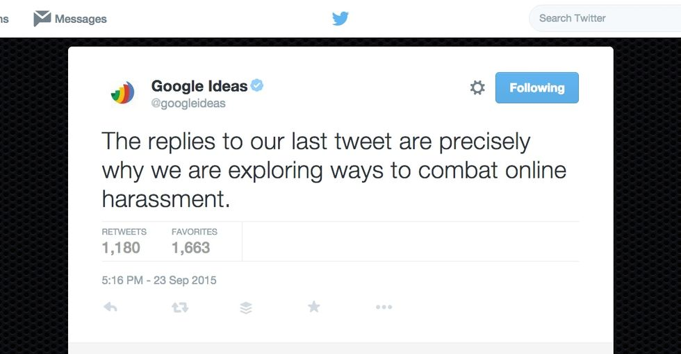 Google tweeted about ending online harassment. But it was the next tweet that shut the haters down.