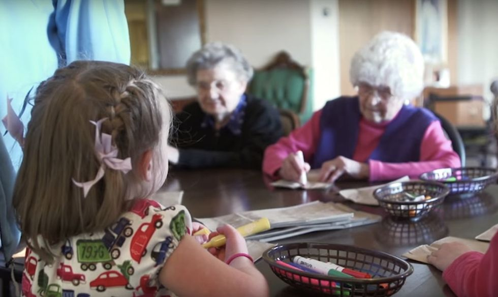 This preschool inside a retirement home makes perfect sense for both kids and seniors.