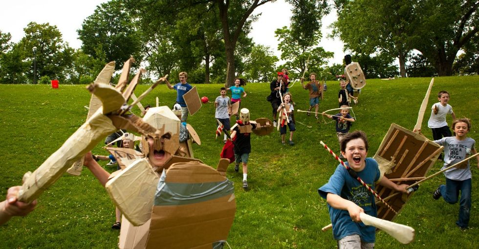 This camp lets kids show off their imagination and battle skills. Cardboard required.