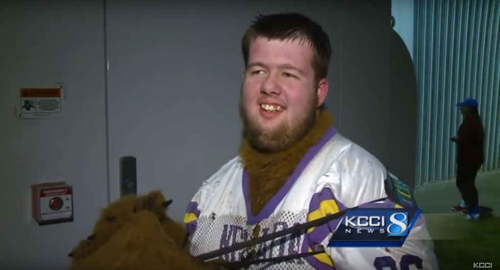 The wonderful story of a teen who found his place as his high school's mascot.