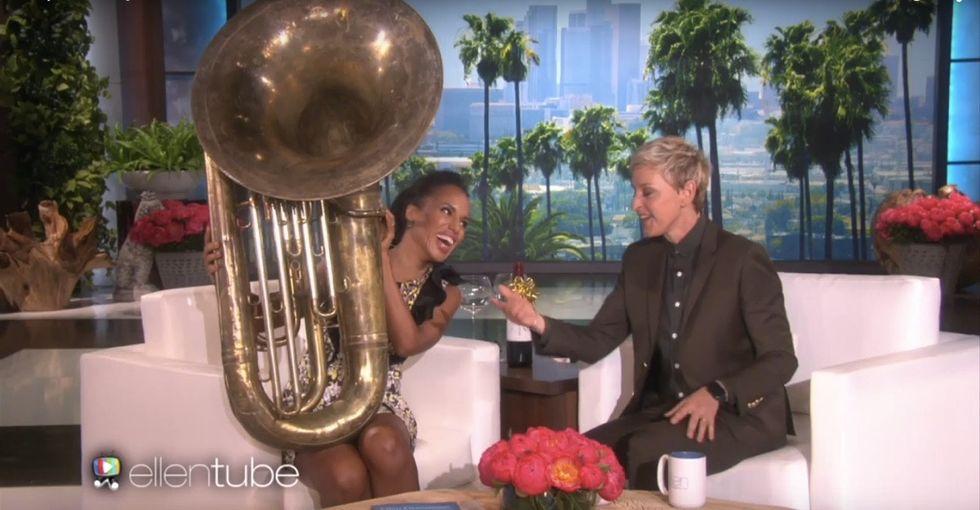 Ellen dared Kerry Washington to play the tuba. She had an inspiring reason to happily accept.