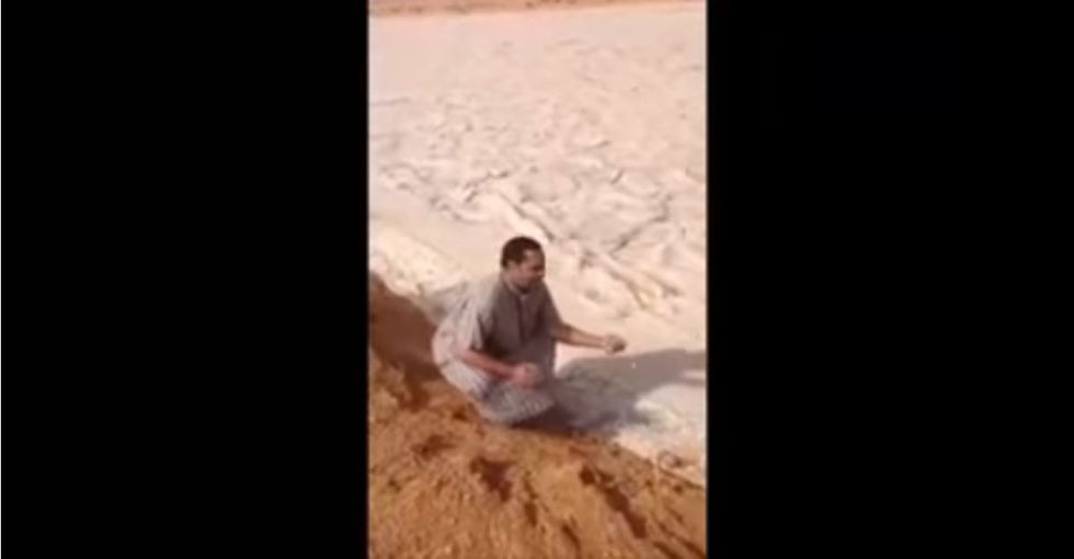 This unusual river of ice in the desert looks like fun. But the reason it's there isn't so funny.