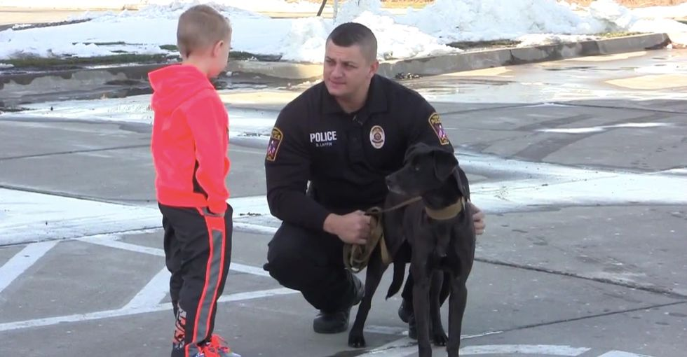 A town is getting its first police dog in 20 years, thanks to a 5-year-old boy.