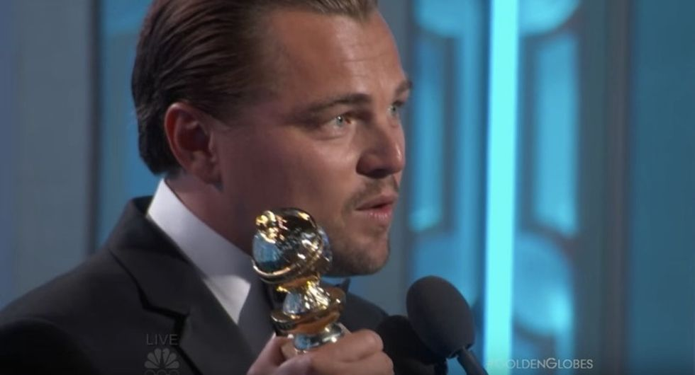 Watch Leonardo DiCaprio's impassioned, political thank you speech at the Golden Globes.