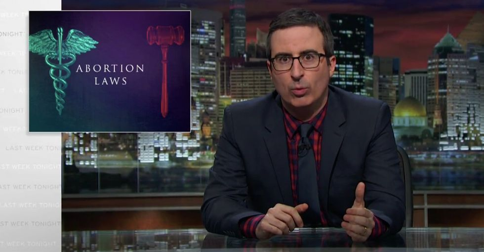 Watch John Oliver powerfully take on absurd abortion restriction laws.