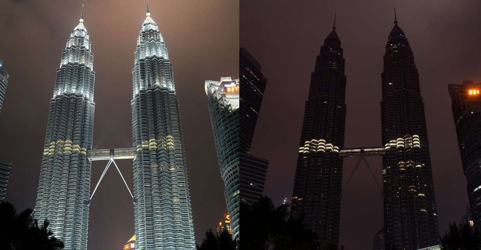 24 stunning photos of cities around the world turning their lights off to make a point.