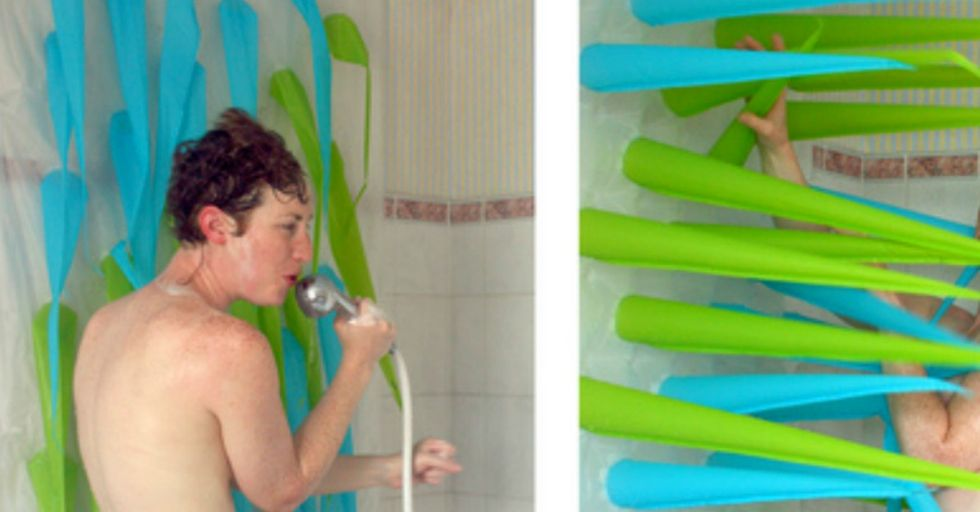 Artist creates amazing inflatable shower curtain to help save water.