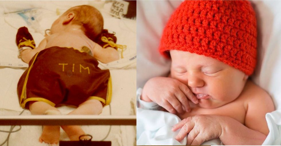 Mom makes red hats for newborns to help raise awareness of what happened to her baby.