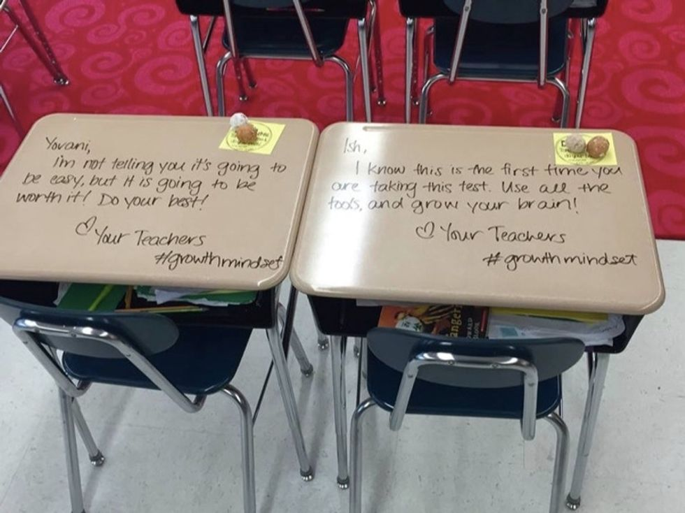 This teacher found a perfect way to relieve her students' testing fears.