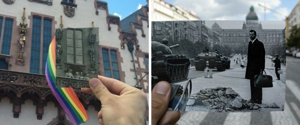 13 black-and-white wartime photos juxtaposed with their modern-day locations.