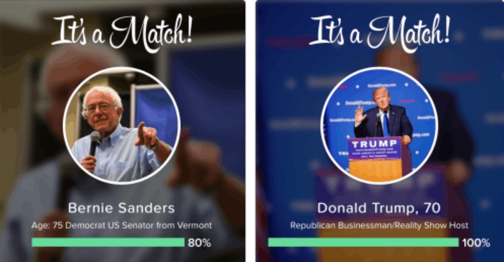 Tinder now lets you swipe right for the presidential candidate of your dreams.