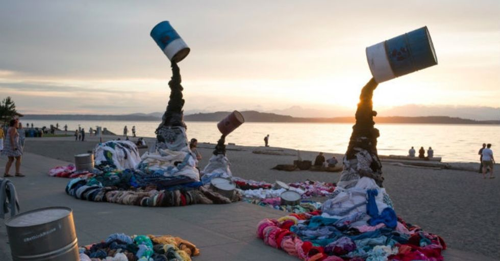 Savers turned heads on a Seattle beach with the clothing industry's dirtiest laundry.