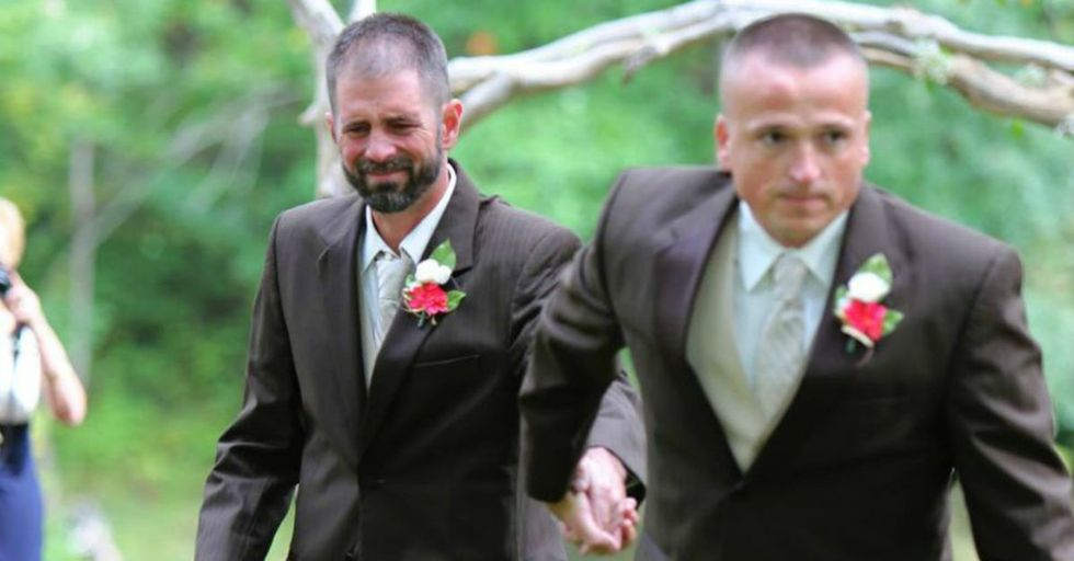 A bride's father schooled us all in family values when he asked the stepdad to give THEIR daughter away.