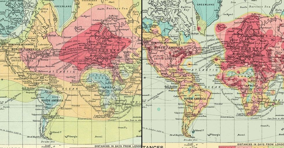 A 2016 take on a century-old map shows changes in travel over time.