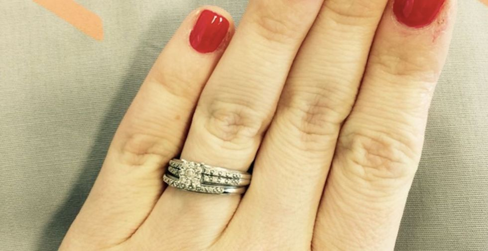 A woman responds to silly people asking her when she's going to upgrade her wedding ring.