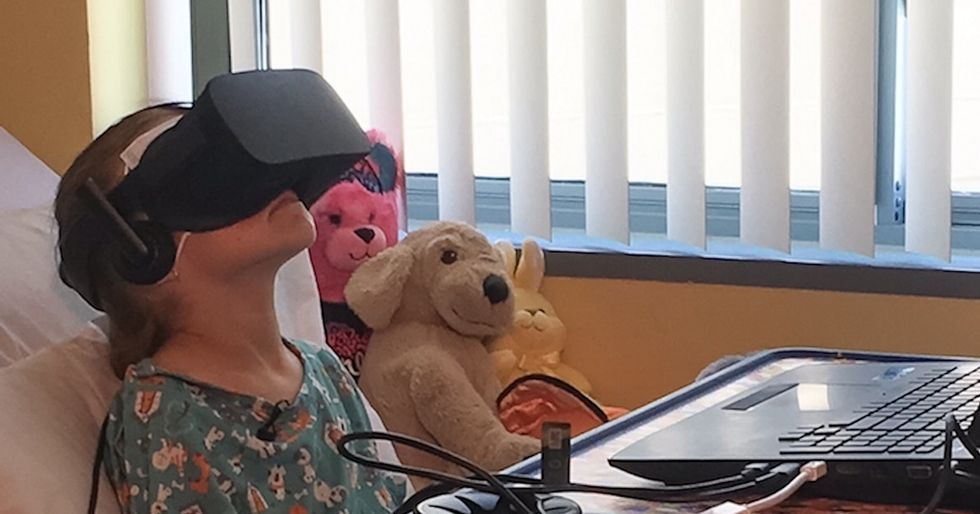 After her surgery, a hospital sent this girl on a VR adventure to cheer her up.