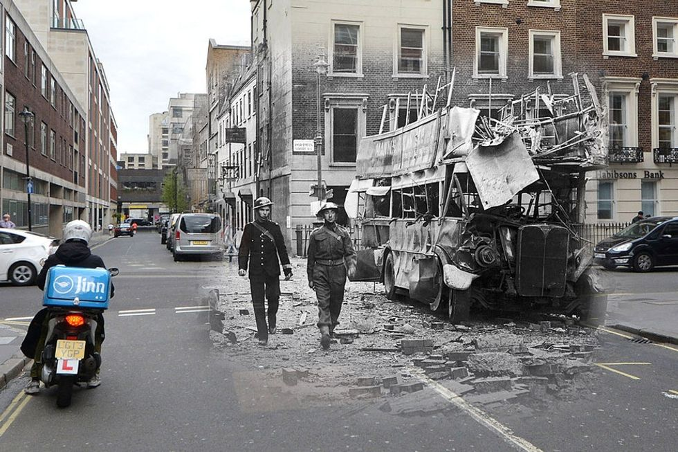 7 ghostly before-and-afters from WWII London remind us of the cost of war.