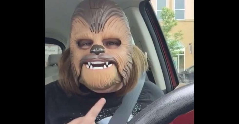 This woman loving her talking Chewbacca mask is exactly what we all need right now.