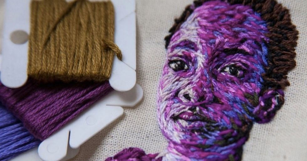 From shoes to tennis rackets, she transforms everyday objects with lifelike embroidery.