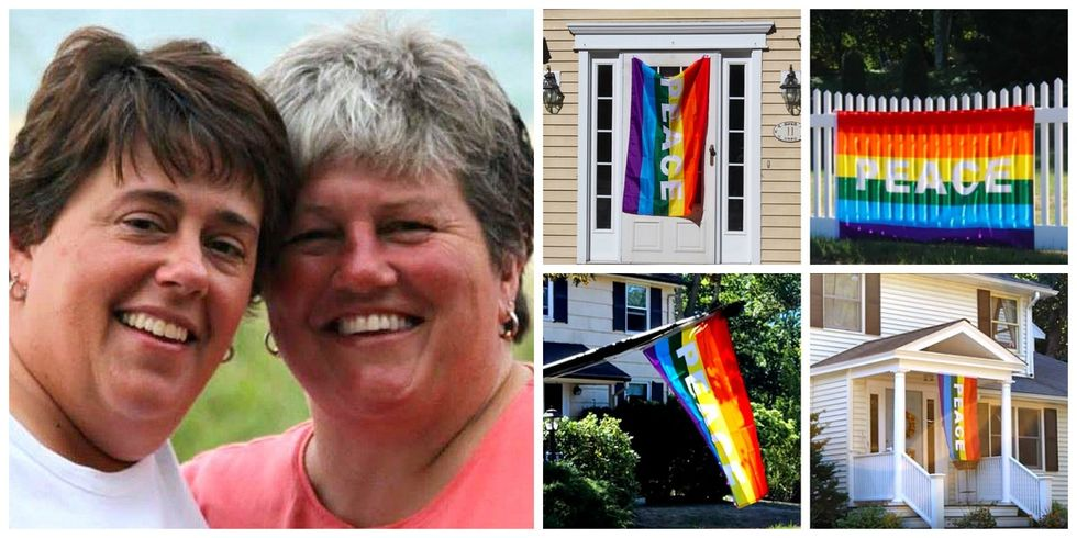 These neighbors hung up 40 rainbow flags when a gay couple's house was vandalized.