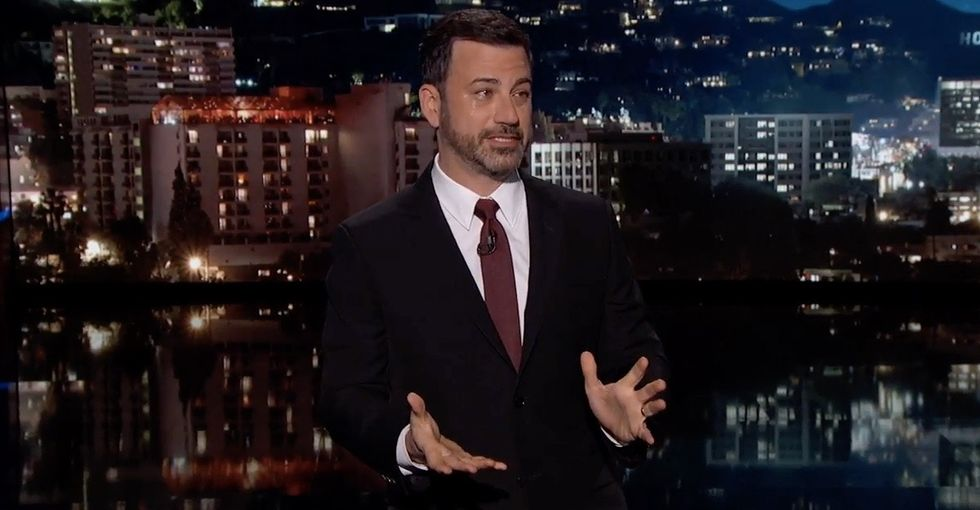 Jimmy Kimmel thanks hospitals for saving his son, slams Trump in teary opener.