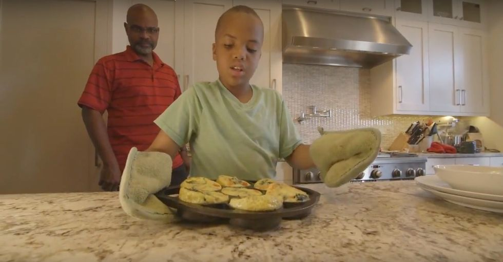 This culinary wonder kid is cooking up something pretty special for his family.